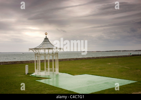 Southsea bandstand overlooking Portsmouth Harbour - Stock Photo