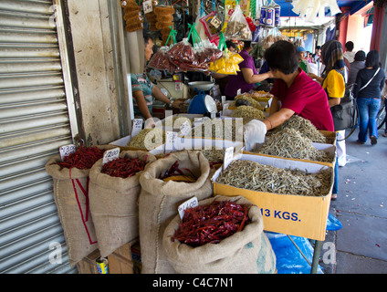 Market stall on Carpenter Street, Kuching, Borneo, Malaysia - Stock Photo