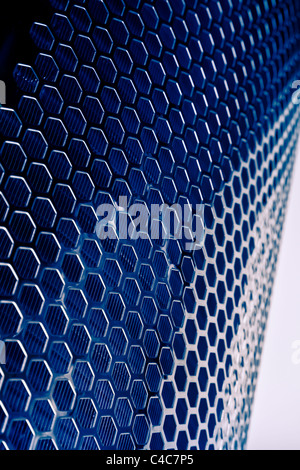 Dark blue Metal Mesh Texture closeup shot - Stock Photo
