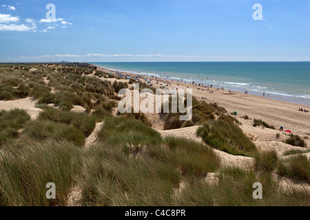 View over dunes and beach of Camber Sands - Stock Photo