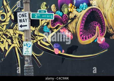 Graffiti art on a wall near Pioneer Square, Seattle, Washington, USA - Stock Photo