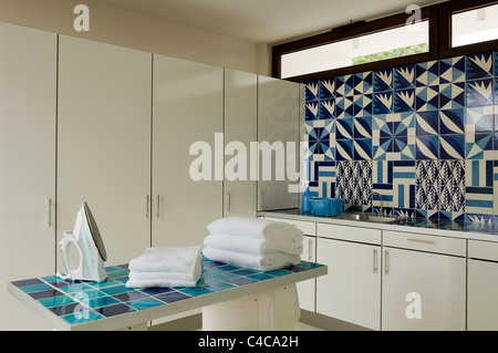 utility room in a contemporary villa in Spain designed by Matteo Thun - Stock Photo