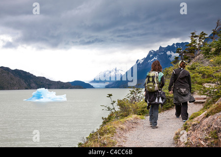 Glacier Grey and Lake Grey, Torres del Paine National Park, Chile - Stock Photo