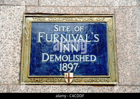 Plaque saying site of the Furnival's Inn Demolished 1897 on the side of the old Prudential building in High Holborn - Stock Photo