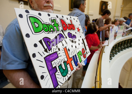 Group of parents, students and teachers gather at Texas Capitol to protest proposed budget cuts to public education - Stock Photo