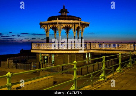 Victorian bandstand on seafront promenade at night , Brighton ,Sussex, England - Stock Photo