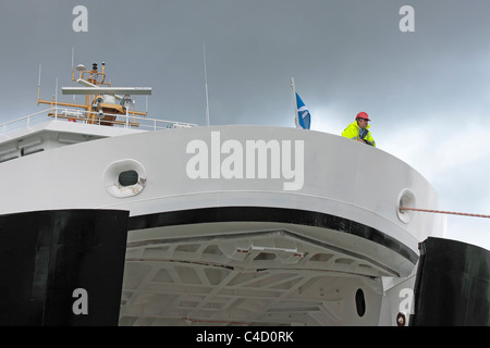 MV Finlaggan Kennacraig to Port Askaig ferry with bow doors open - Stock Photo