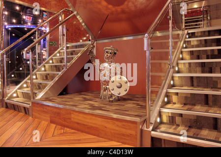 Sculpture on deck 4 lounge stair case of the MV Finlaggan Kennacraig to Port Askaig ferry. - Stock Photo