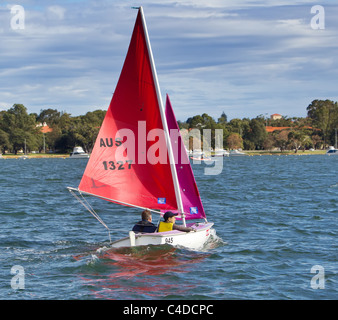 Sailing boat on the Swan River Perth WA - Stock Photo