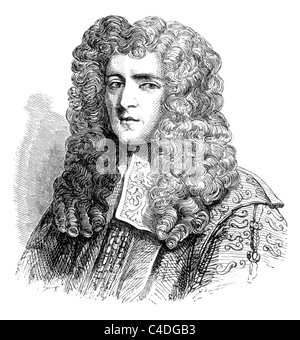 Anthony Ashley Cooper, 1st Earl of Shaftesbury, English Politician and founder of the Whig Party; Black and White - Stock Photo