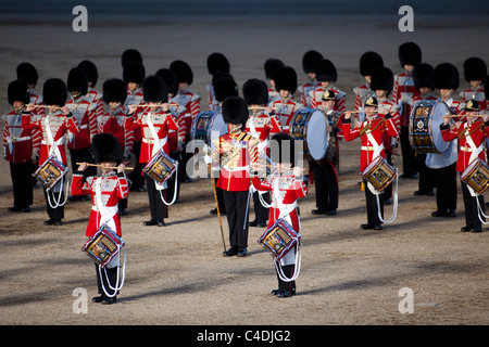 Guardsmen of the Massed Bands of the Household Division march and play at the annual Beating Retreat ceremony in - Stock Photo