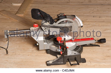 Power Miter saw dual compound - Stock Photo