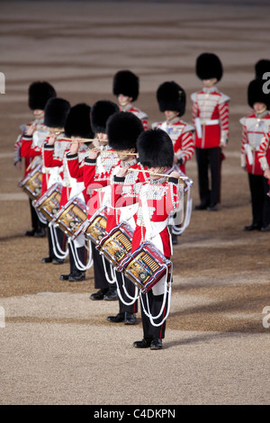 Drummers of the Massed Bands of the Household Division march and play at the annual Beating Retreat ceremony in - Stock Photo