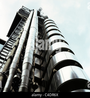 The Lloyds Building designed by architects Richard Rogers Partnership 1 Lime Street in the City of London England - Stock Photo