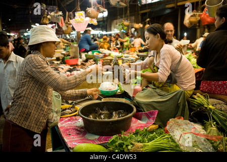 The fish, fruit and vegetable section of the Old Market in Siem Reap, Cambodia - Stock Photo