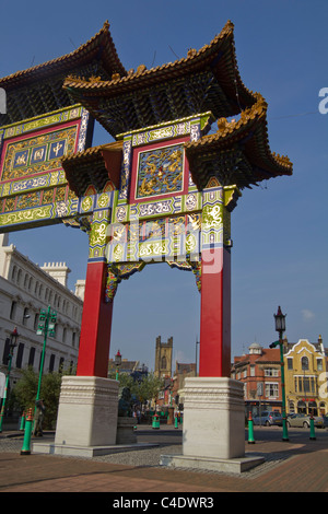 Gate to China Town  Liverpool Merseyside England - Stock Photo
