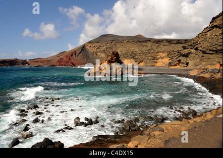 Cliffs, sea and black volcanic beach of El Golfo, Lanzarote, 'Canary Islands' - Stock Photo