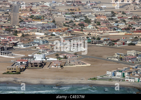 Aerial shot of the outskirts of Swakopmund on the coast, Namibia - Stock Photo
