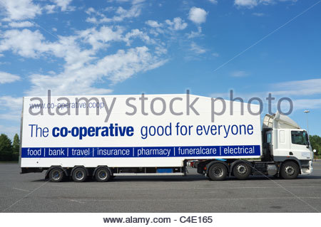 Co-Op group lorry, using a double deck semi-trailer. UK. - Stock Photo