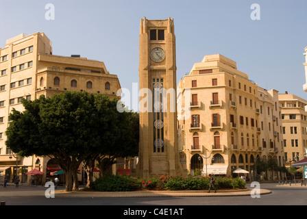 Nejmeh Square (aka Place d'Etoile) & Art Deco clock tower, Downtown Beirut, Lebanon. - Stock Photo