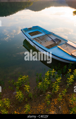 Moored boat, Lokve lake in Gorski Kotar, Croatia - Stock Photo