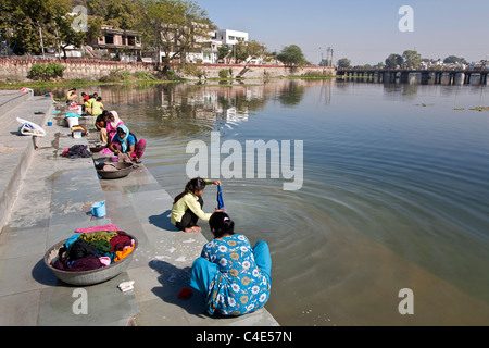 Women doing the laundry. Udaipur. Rajasthan. India - Stock Photo