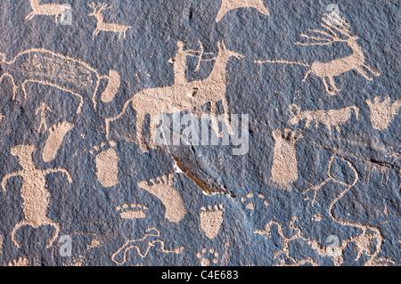 Indian petroglyph in Newspaper Rock, Utah - Stock Photo