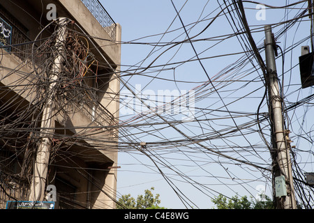 electricity wires in Lahore, Pakistan - Stock Photo