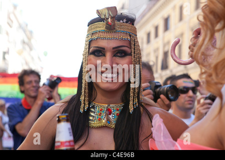 Revellers at Rome Gay Pride march, Rome, Italy. 11/6/2011 - Stock Photo