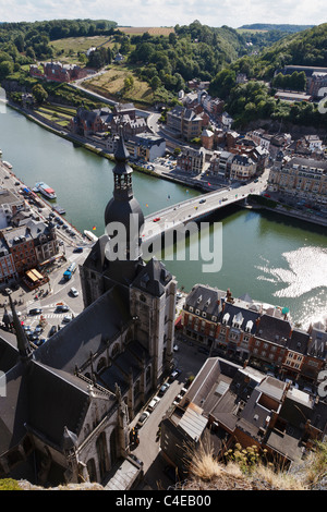 View from the Citadel above Dinant to the cathedral and River Meuse, Wallonia, Belgium. - Stock Photo