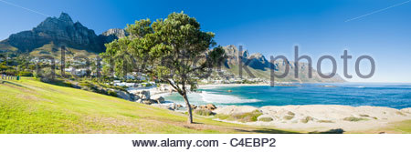 Camps Bay with Table mountain behind, Cape Town, South Africa - Stock Photo