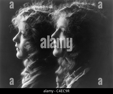 Vintage composite photo c1914 of Canadian-born actress Mary Pickford (1892 - 1979) featuring two portrait images - Stock Photo