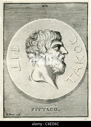 Classical portrait of Pittacus of Mytilene c. 640 to 568 BC the son of Hyrradius and one of the Seven Sages of Greece. - Stock Photo