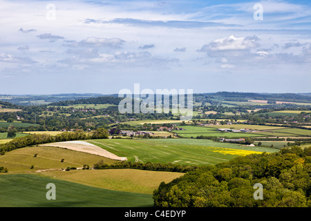 Views over Donhead Hollow in the beautiful English countryside of Dorset, England, UK - Stock Photo