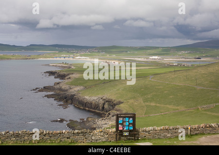 Sumburgh Head Shetland Islands Scotland View across the airport and the south mainland - Stock Photo