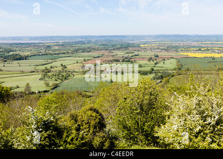 The view across the Severn Vale to the Forest of Dean from the Cotswold Way on Haresfield Hill, Gloucestershire, - Stock Photo