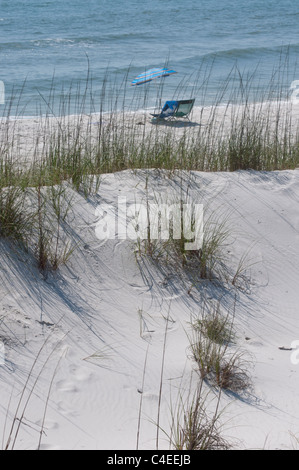 Gulf beaches along Florida's Panhandle at St. Joseph Peninsula State Park. - Stock Photo