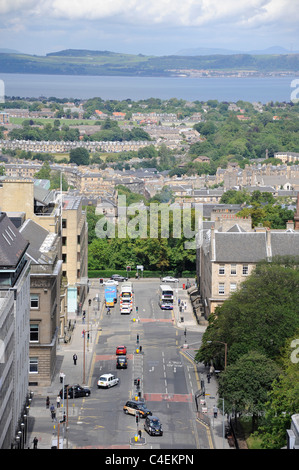 A view along St David's Street in Edinburgh, looking across the New Town to the Firth of Forth and Fife in the background - Stock Photo