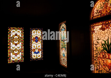 Inside Chicago's Smith Museum of Stained Glass Windows at the Navy Pier - Stock Photo