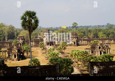 Walls and library buidlings view from the towers at Angkor Wat, the world's largest religious monument - Stock Photo