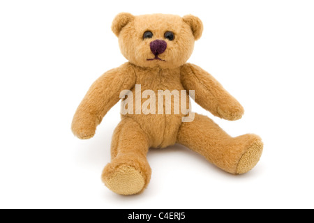 Single sitting teddy bear isolated on white - Stock Photo