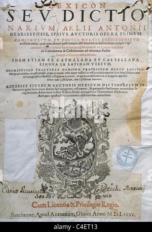 Nebrija, Elio Antonio de (1441-1522). Lexicon sev dictionarium Aeli Antonii Nebrissensis ipsus autoria opera primum. - Stock Photo