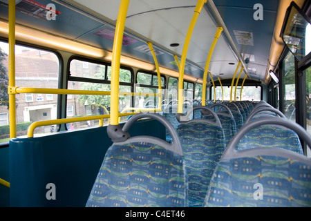 Empty Seats on Top Deck of London Bus - Stock Photo
