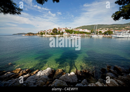 boats at the old harbour of Skiathos Town on Skiathos Island, Northern Sporades, Greece - Stock Photo