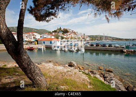 harbour and Skiathos Town seen from Bourtzi peninsula on Skiathos Island, Northern Sporades, Greece - Stock Photo