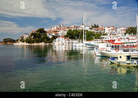 cityscape and old harbour Skiathos Town on Skiathos Island, Northern Sporades, Greece - Stock Photo