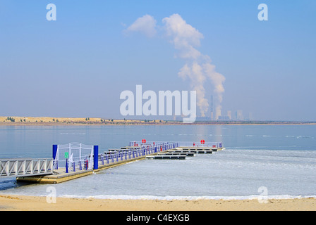 Boxberg Kraftwerk See - power plant Boxberg and lake 02 - Stock Photo