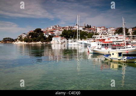 cityscape and old harbour Skiathos Town on Skiathos Island, Northern Sporades, Greece - Stock Photo