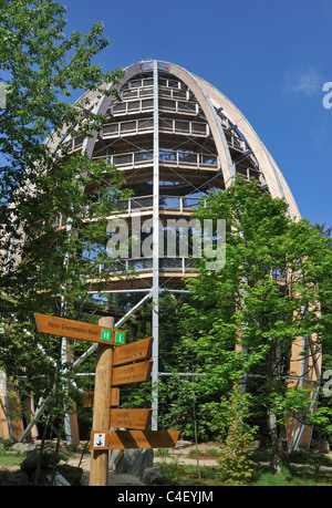 Baumwipfelpfad, a wooden tower construction of the world´s longest tree top walk in the Bavarian Forest National - Stock Photo