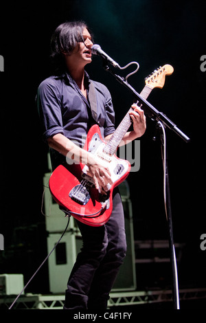 Members of the Placebo band perform on the concert in Budapest, Hungary, 2010.09.15 - Stock Photo